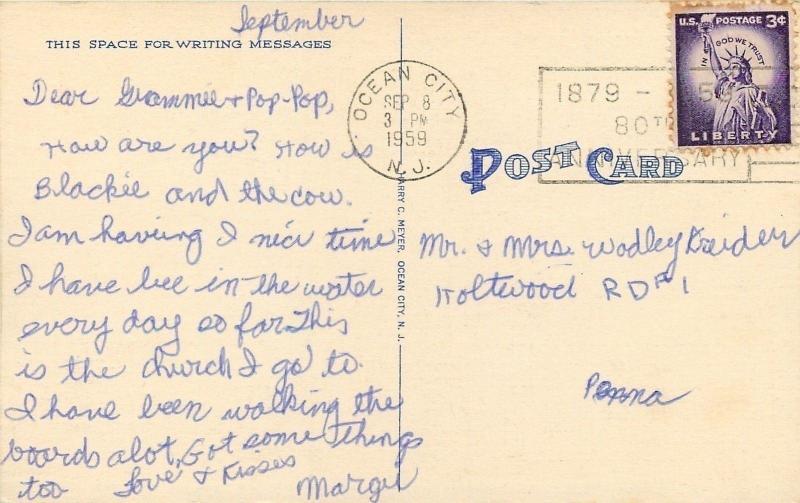 Ocean City NJ~Methodist Episcopal Church~8th Street~Resort Inns~1959 Linen PC