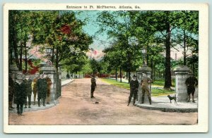 Atlanta Georgia~Ft McPherson Entrance~Armed Guards by Gate~Dog~1920s Postcard