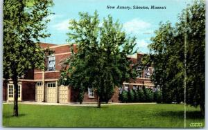 Sikeston, Missouri Postcard New Armory Building View Curteich Linen 1948