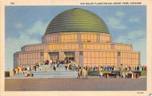 Chicago Illinois~Grant Park-Adler Planetarium~Crowd in Front~Info on Bk~1940 Pc