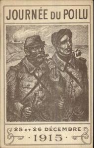 WWI French Military Propaganda Poster Art JOURNEE DU POILU 1915 Postcard