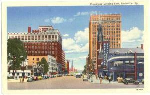 Broadway Looking East, Louisville Kentucky KY Linen