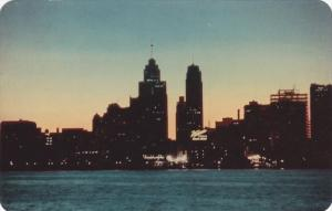 Detroit Skyline at Night from Windsor, Ontario, Canada, 1960-70s
