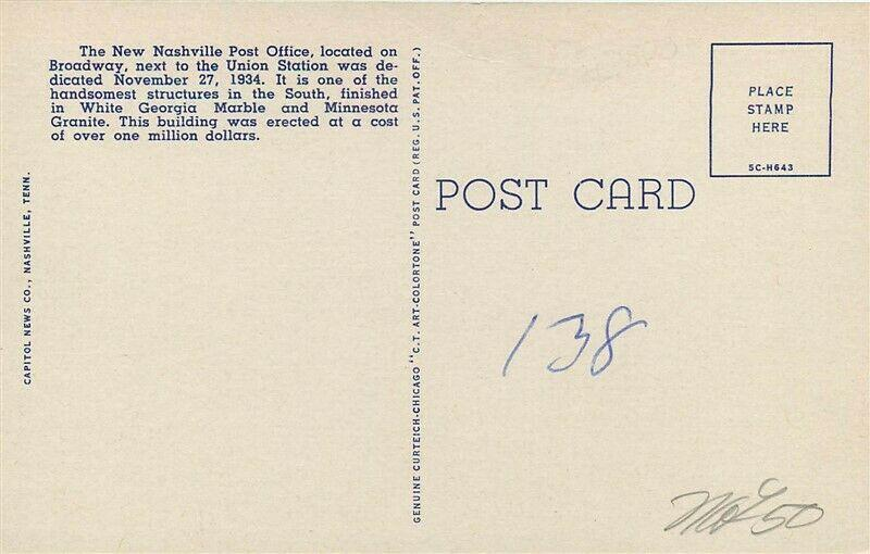 TN, Nashville, Tennessee, Post Office, Curteich No. SC-H643