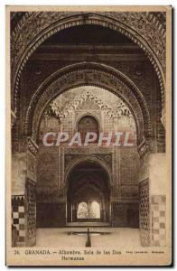 Postcard Old Granada Alhambra Sala de las Dos Hermanas