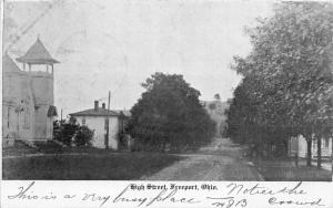 F11/ Freeport Ohio Postcard Harrison County 1907 High St Church Homes