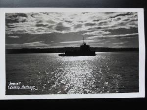 Australia: SYDNEY Harbour Sunset showing FORT DENISON Old RP PC