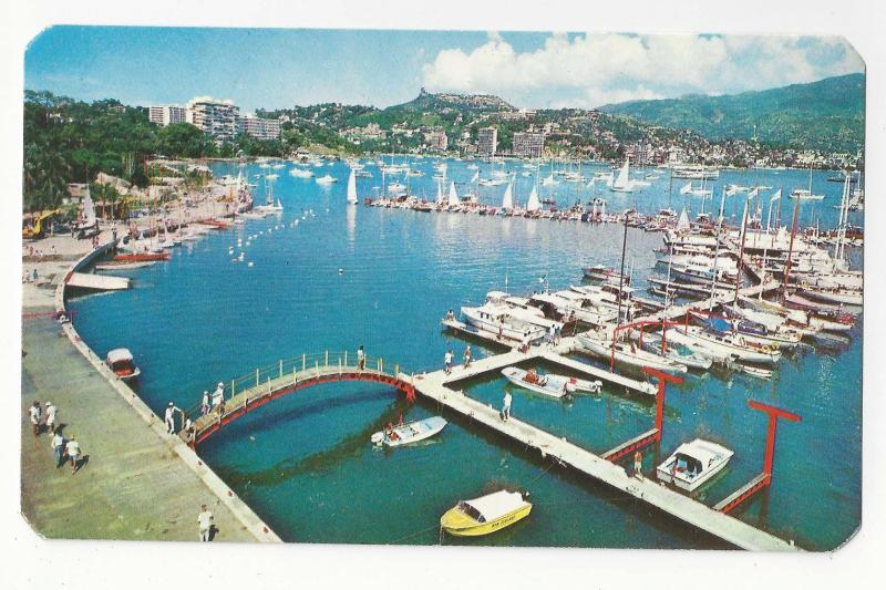 Mexico Acapulco New Yacht Club Boats XIX Olympics 1968 Aerial View Vtg Postcard