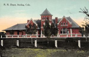 Sterling Colorado~New Trees on the Grounds of Railroad Depot~Barrier Posts c1913