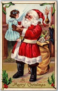 1910s Christmas Postcard SANTA CLAUS in Red Suit w/ Doll STECHER 227B Unused