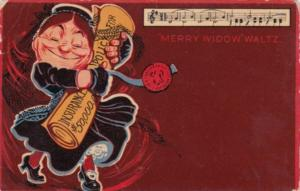 Humour Woman Holding Insurance Policy Doing The Merry Widow Waltz