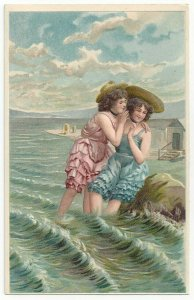 AS: Two girls share a secret in the water, 1900-10s