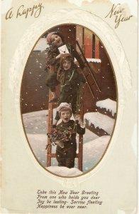 Children in ladder. Snow scene Old vintage English New Year  postcard