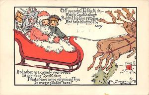 Santa Claus Post Card Old Vintage Antique Christmas Postcard 1913