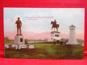 Postcard PA Gettysburg Battlefield Statues of General Reynolds Buford w/ History