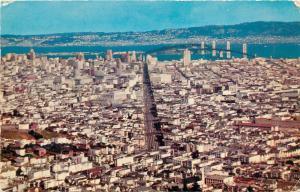 Postcard San Francisco Aerial View Panorama pm 1960's Bay Bridge Oakland