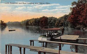 Ohio Postcard AKRON Summit County 1915 LITTLE RESERVOIR Boat Landing People