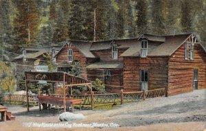 LPS32 Manitou Colorado Half Way House Cog Road Log Cabin Postcard