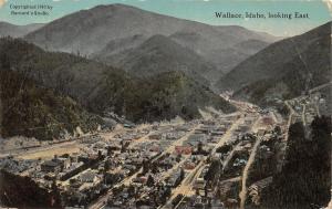 Wallace Idaho~Bird's Eye View Looking Into Valley~1910 Barnard's Studio Postcard