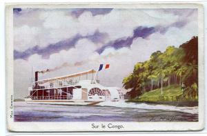 Paddle Steamer Sur Le Congo Ligue Maritime Coloniale France Haffner postcard