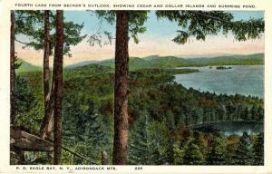 NY - Becker's Outlook, Adirondacks. 4th Lake, Cedar & Dollar Islands, Surpris...