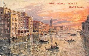 Italy Old Vintage Antique Post Card Hotel Regina, Grand Canal Venezia 1924