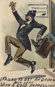 Door To Door Salesman Running Away 1913 Comic Postcard