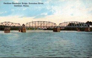 Maine Gardiner Gardiner-Randolph Bridge Spanning Kennebec River Curteich