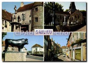Postcard Modern SAULIEU Fountain Church Caristie market