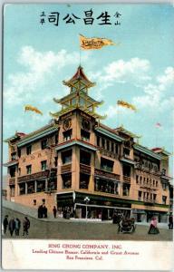 San Francisco CA Postcard SING CHONG COMPANY, INC. Chinatown Grant Ave c1910s