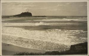 Nobby's Newcastle Australia Lighthouse c1915 Real Photo Postcard