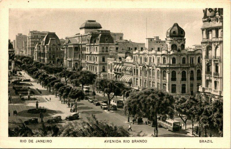 Vtg Postcard 1920s Rio De Janeiro Brazil Avenida rio Brando UNP