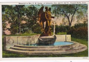 Iowa Council Bluffs Memorial To Mrs G M Dodge At Lafayette Avenue 1942 Curteich