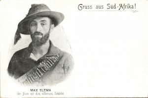 BOER WAR, Transvaal Boer Soldier Max Slema with the Silver Skull (1899) Postcard