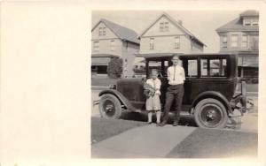 B79/ Automobile Real Photo RPPC Postcard c1920 Car Auto People Homes 5