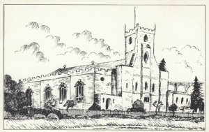 YORKSHIRE, England, 1940-60s; Parish Church of St. Mary Magdalene, Line Drawing