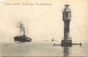 c1910 Lithograph Postcard; Suez Canal Bitter Lakes, The North Light House Egypt