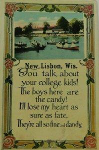 New Lisbon Wis. Poem Written On Posted Divided Back Vintage Postcard