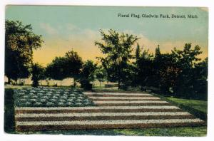 Port Huron, Michigan to Warren, Ohio 1912 PC, Detroit Gladwin Park Floral Flag
