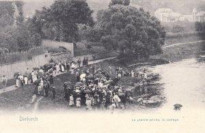P1867 old Luxembourg postcard diekirch la grange peche la partage postcard
