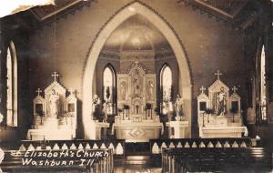Washburn Illinois~St Elizabeth's Catholic Church Interior~Rev Father~1924 RPPC
