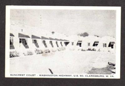 WV Suncrest Motel CLARKSBURG WEST VIRGINIA Postcard