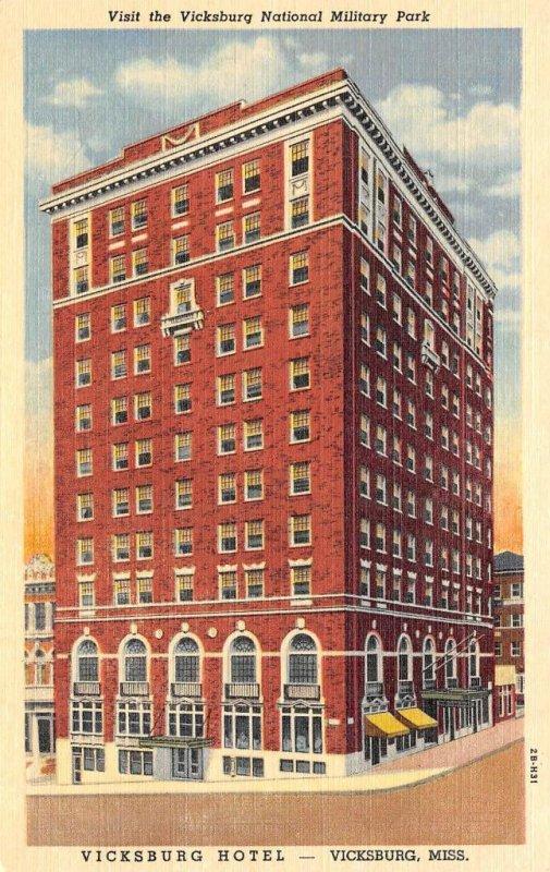 VICKSBURG HOTEL Vicksburg, Mississippi ca 1940s Vintage Linen Postcard