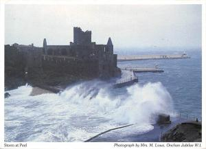 Storm at Peel Sea Waves Castle