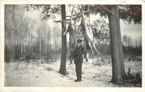 Hunter Hangs & Drains Two Deer~Rifle~Name On Back Shorty~Snow~1915 RPPC