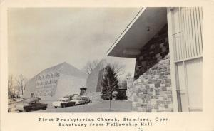 Stamford Connecticut~First Presbyterian Church~50s Cars Parked~Note Bk~RPPC