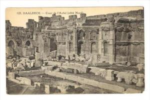 Men walk among ruins: BAALBECK-Cour de l'Autel (cote Nord), Lebanon, 00-10s