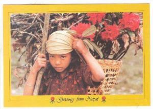 Thakali Girl Carrying Rhodedendrons , NEPAL , 70-80s