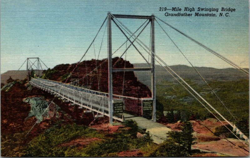Grandfather Mountain, NC, Mile High Swinging Bridge, 1953 Linen Postcard