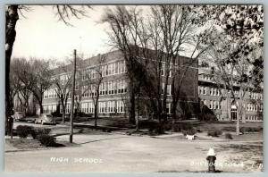 Sheldon Iowa~High School & Addition~Corner Marker~1930s Cars~1940s RPPC
